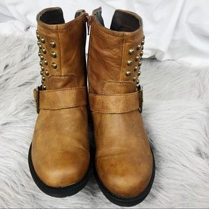 Aldo Gold Studded Brown Ankle Booties